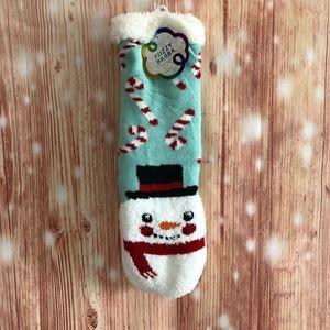 Fuzzy Babba Snowman Slipper Socks